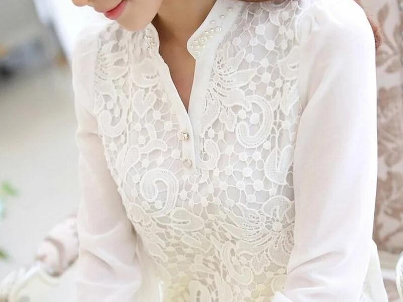 Beyaz dantelli gömlek tunik