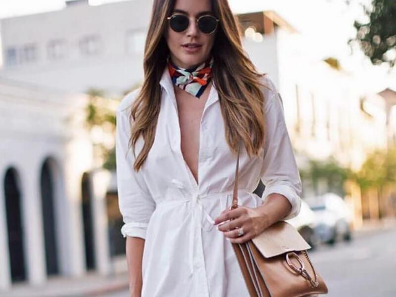 İnce kemerli beyaz gömlek elbiseler