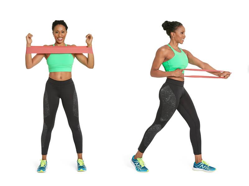 Pilates bandı ile kol sıkılaştırma hareketi