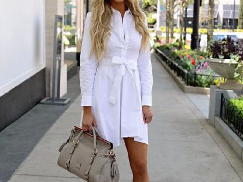 Uzun kollu beyaz gömlek elbiseler