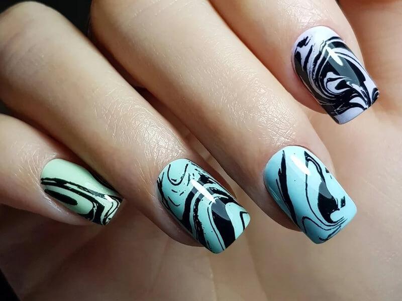 Ebru desenli nail art hilesi