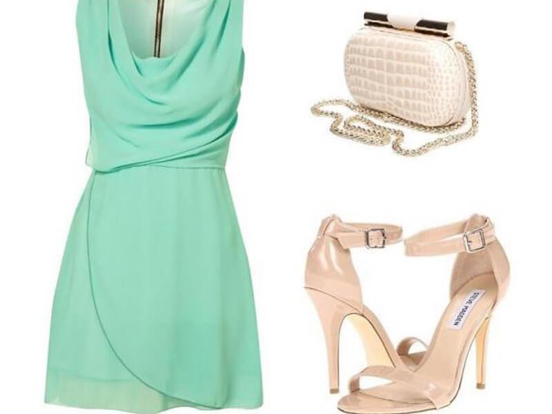 Su Yeşili Elbise Bej Ayakkabı